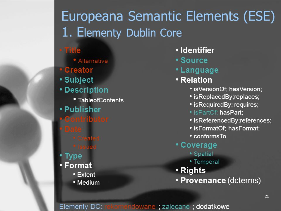 Europeana Semantic Elements (ESE) 1. Elementy Dublin Core