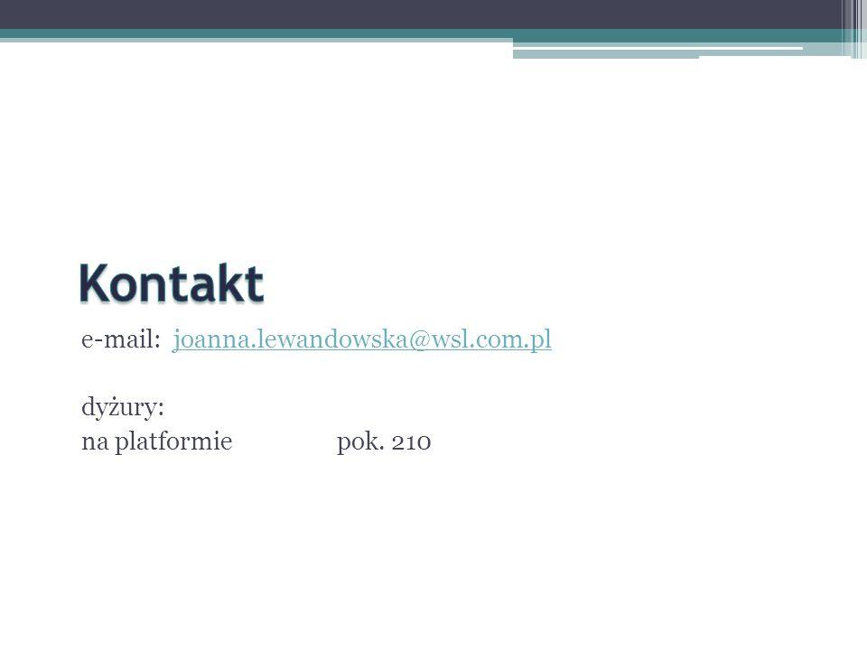 Kontakt e-mail: joanna.lewandowska@wsl.com.pl dyżury: