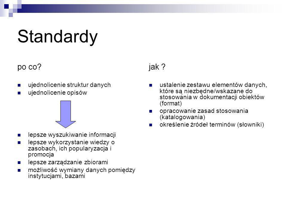 Standardy po co jak ujednolicenie struktur danych