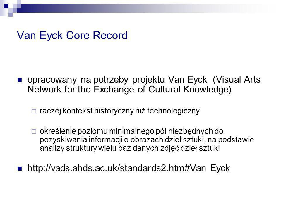 Van Eyck Core Record opracowany na potrzeby projektu Van Eyck (Visual Arts Network for the Exchange of Cultural Knowledge)