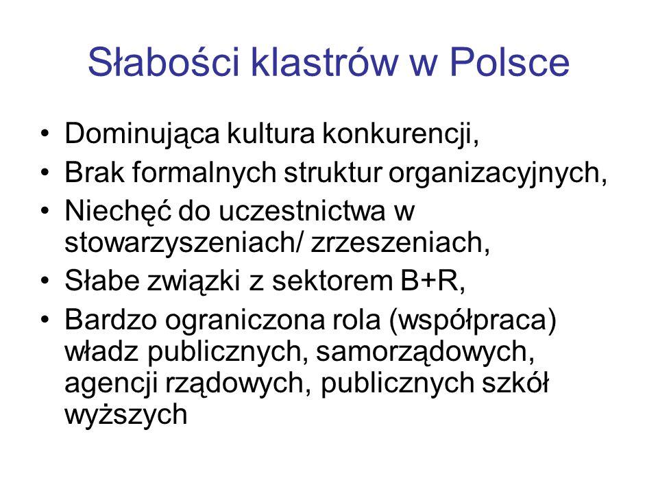 Słabości klastrów w Polsce