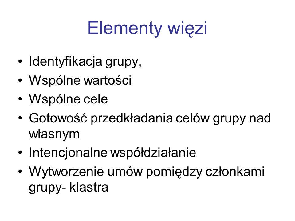Elementy więzi Identyfikacja grupy, Wspólne wartości Wspólne cele