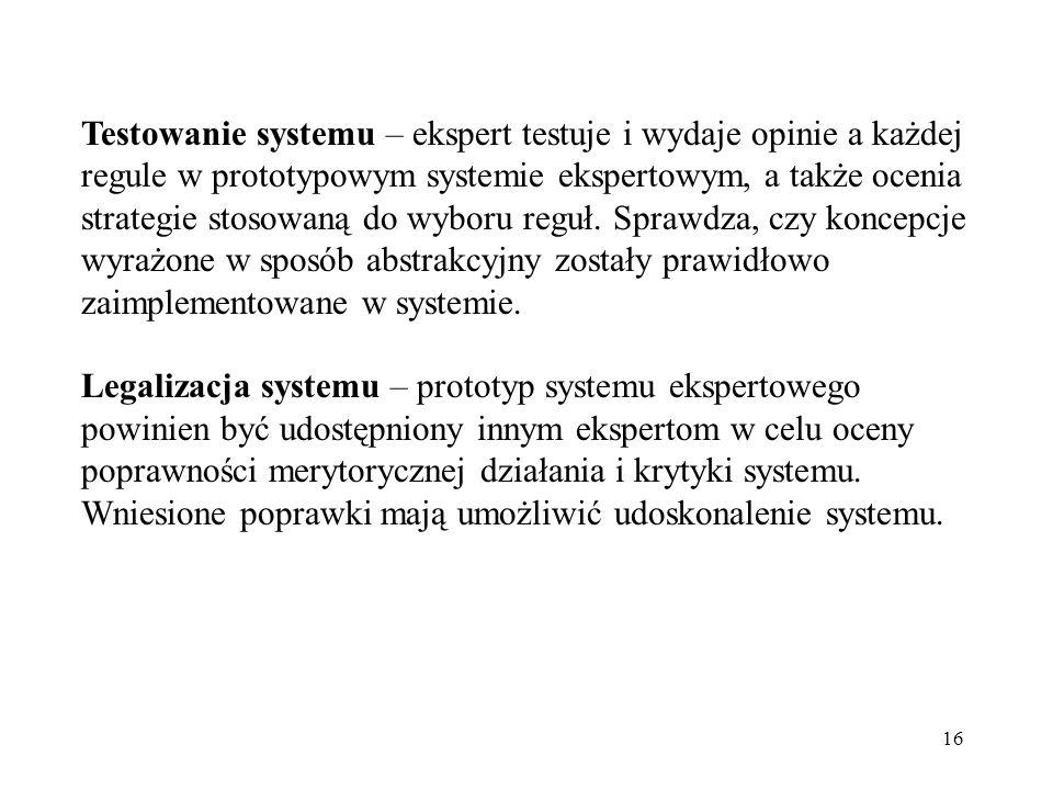 Testowanie systemu – ekspert testuje i wydaje opinie a każdej regule w prototypowym systemie ekspertowym, a także ocenia strategie stosowaną do wyboru reguł. Sprawdza, czy koncepcje wyrażone w sposób abstrakcyjny zostały prawidłowo zaimplementowane w systemie.