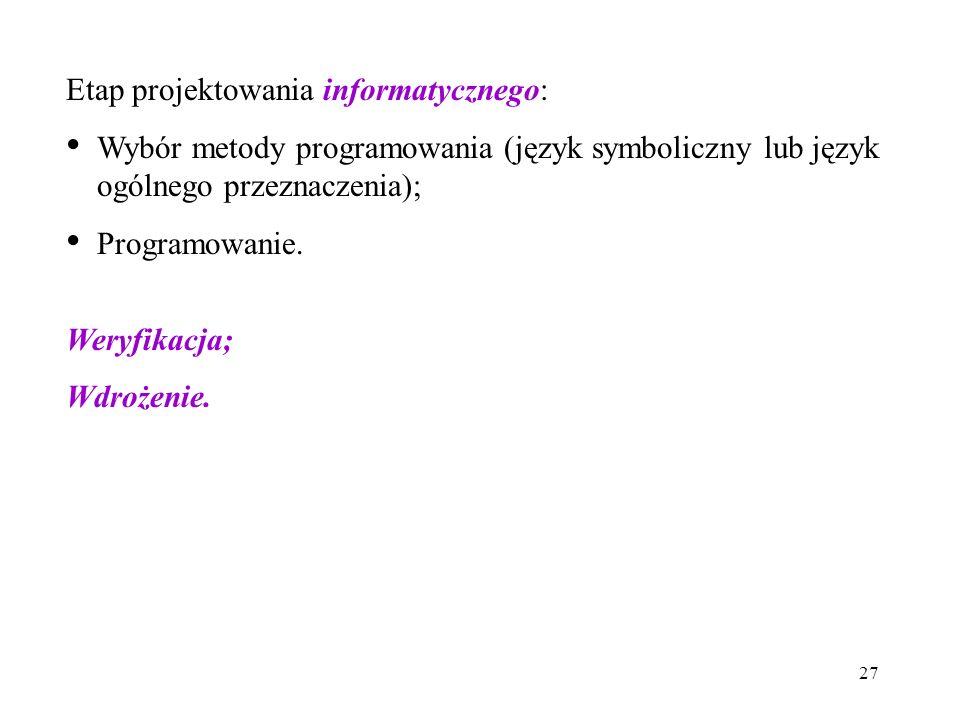 Etap projektowania informatycznego: