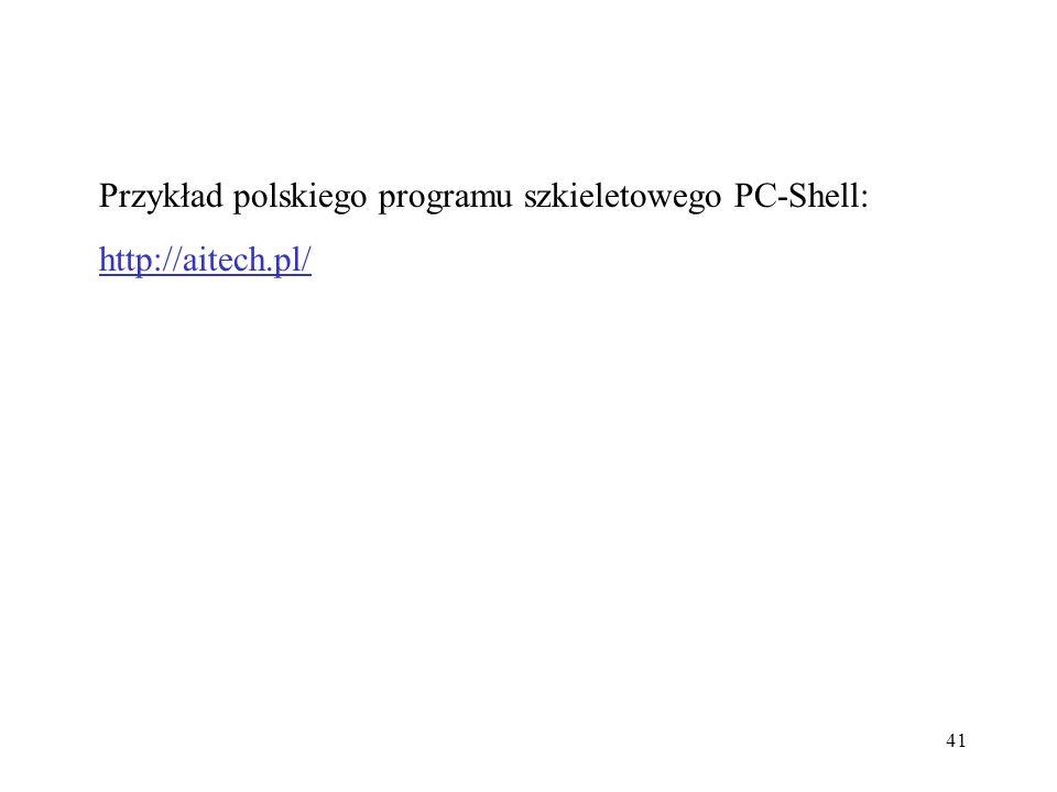 Przykład polskiego programu szkieletowego PC-Shell: