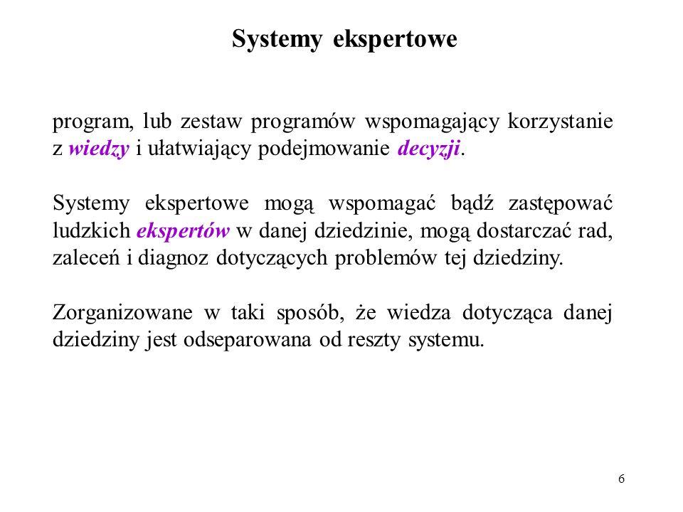 Systemy ekspertowe program, lub zestaw programów wspomagający korzystanie z wiedzy i ułatwiający podejmowanie decyzji.