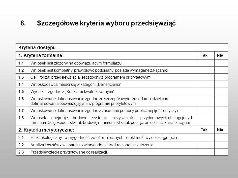 8. Szczegółowe kryteria wyboru przedsięwziąć