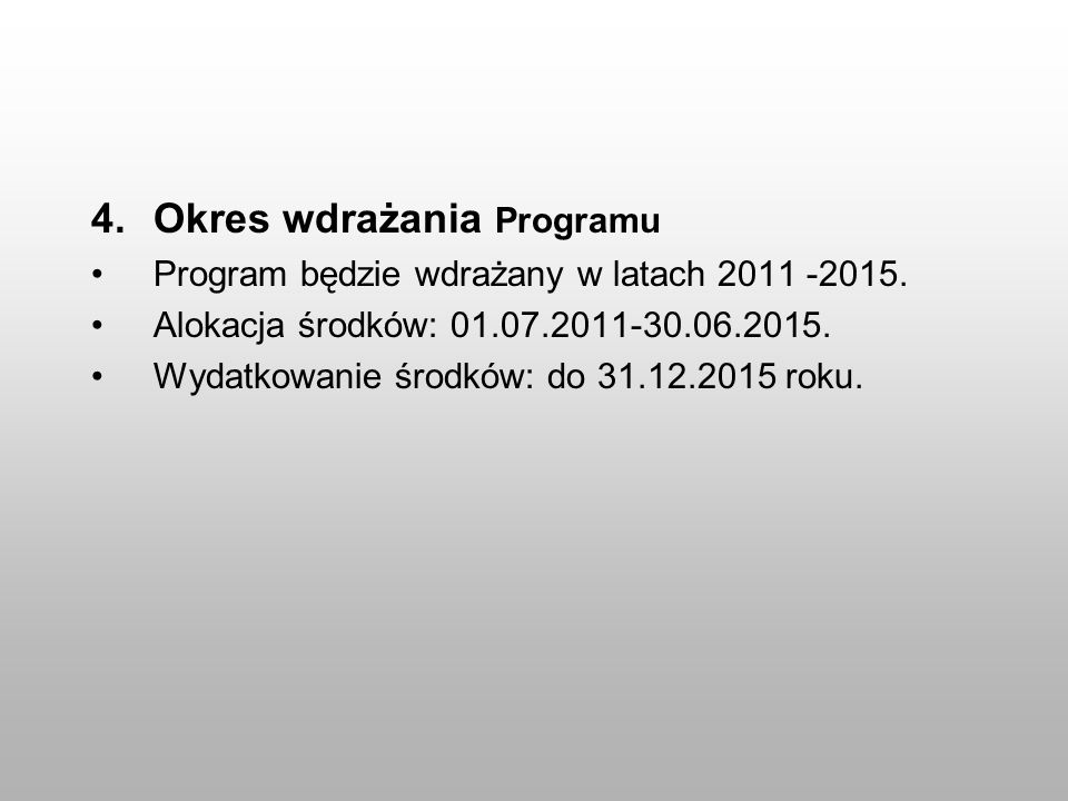 Okres wdrażania Programu