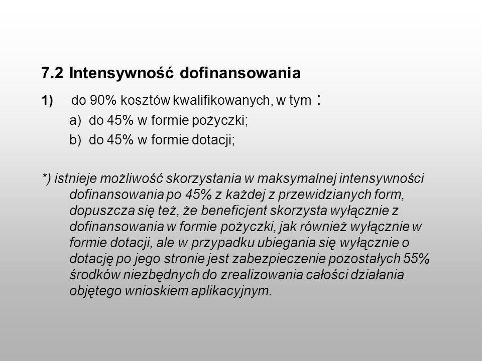 7.2 Intensywność dofinansowania