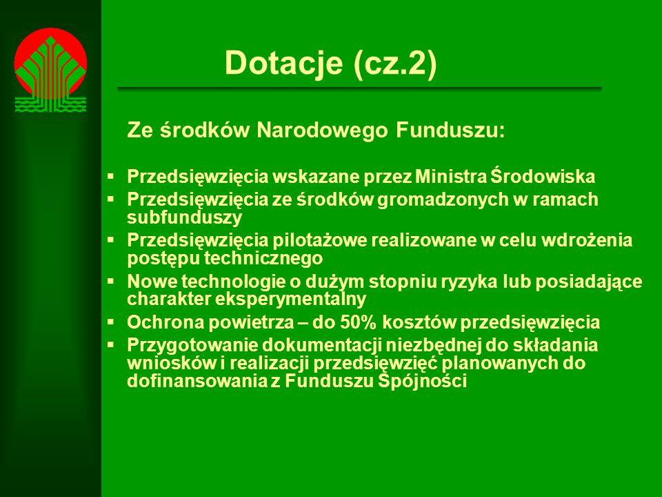 Dotacje (cz.2) Ze środków Narodowego Funduszu: