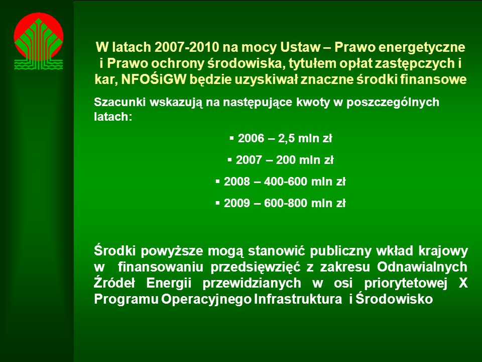 W latach 2007-2010 na mocy Ustaw – Prawo energetyczne i Prawo ochrony środowiska, tytułem opłat zastępczych i kar, NFOŚiGW będzie uzyskiwał znaczne środki finansowe