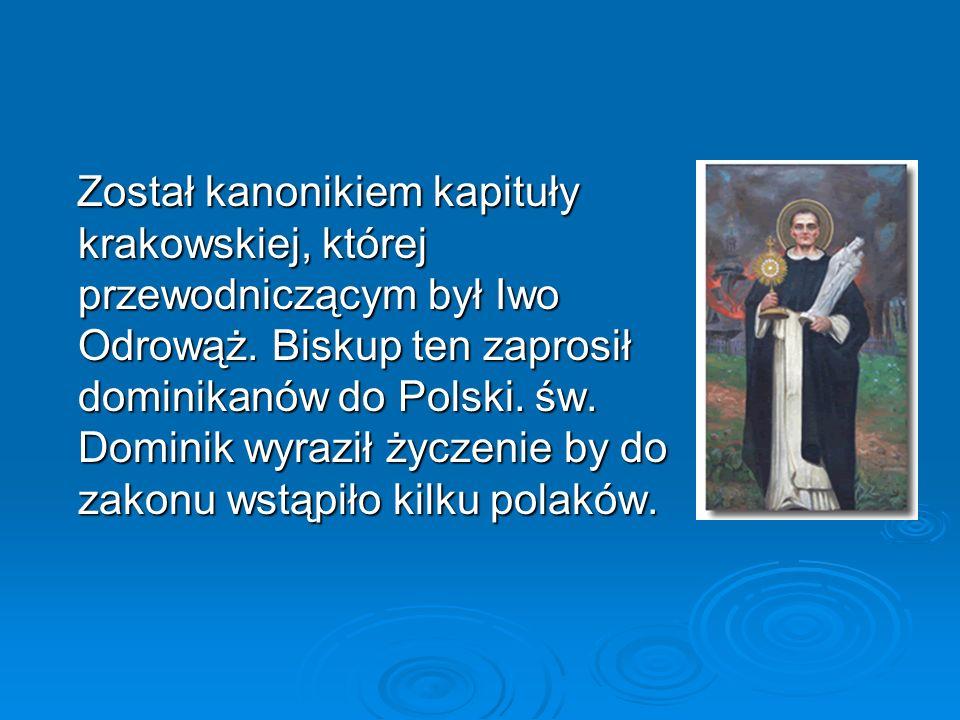 Został kanonikiem kapituły krakowskiej, której przewodniczącym był Iwo Odrowąż.