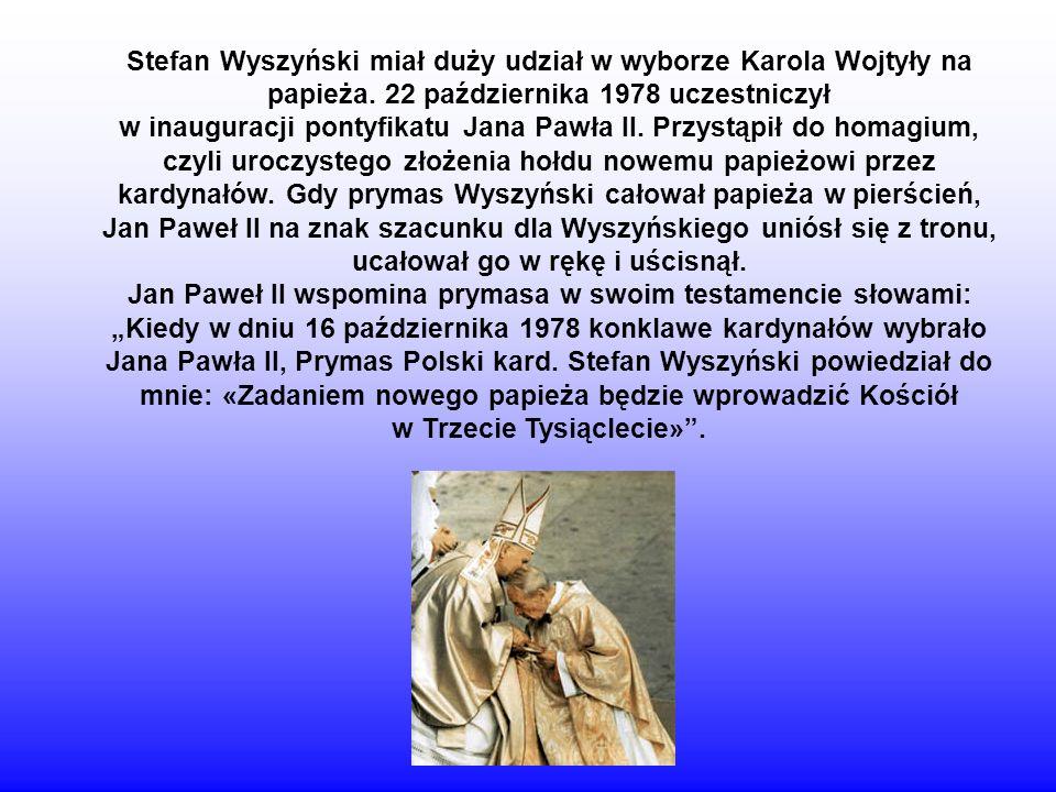 Stefan Wyszyński miał duży udział w wyborze Karola Wojtyły na papieża
