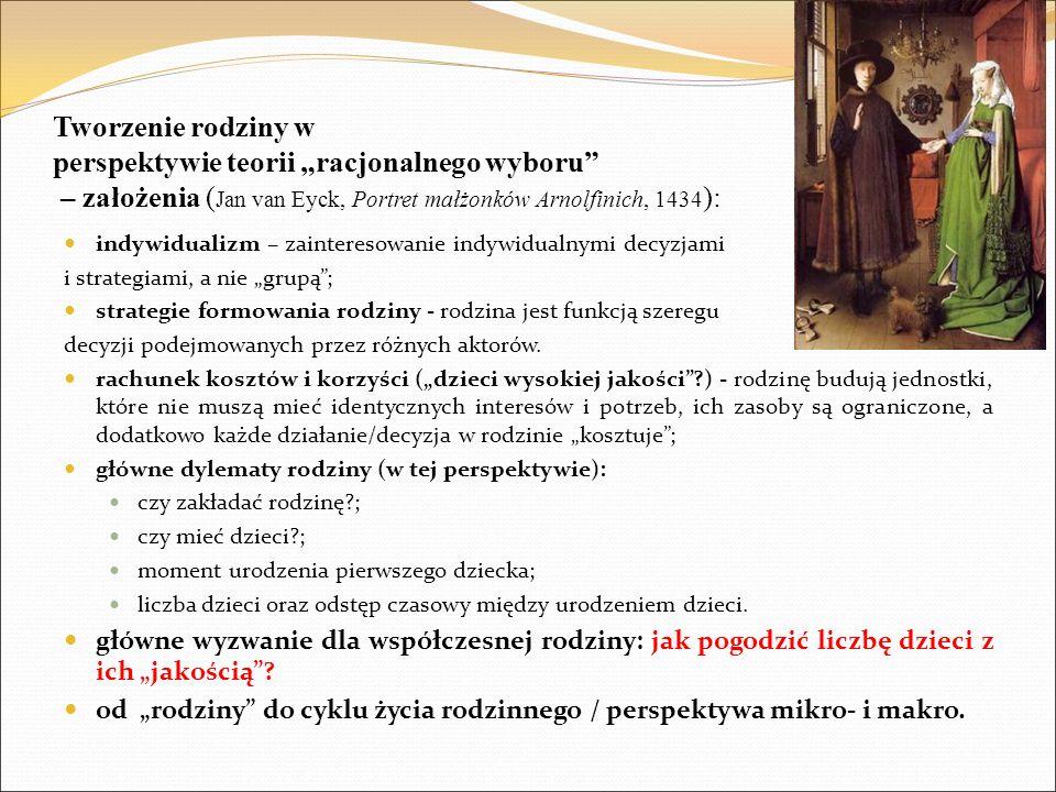 """Tworzenie rodziny w perspektywie teorii """"racjonalnego wyboru – założenia (Jan van Eyck, Portret małżonków Arnolfinich, 1434):"""