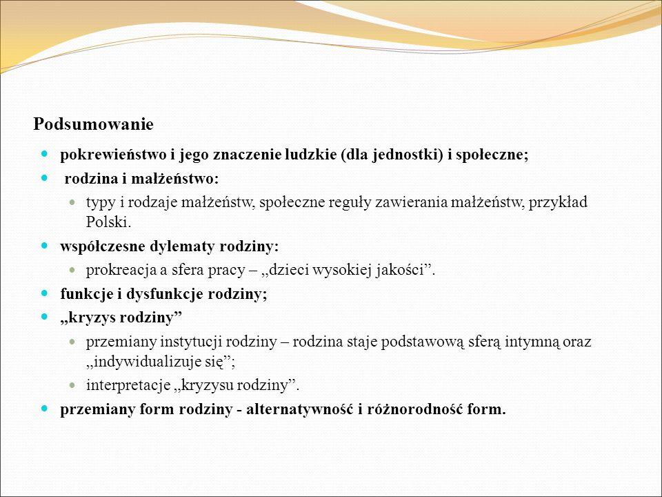 Podsumowanie pokrewieństwo i jego znaczenie ludzkie (dla jednostki) i społeczne; rodzina i małżeństwo: