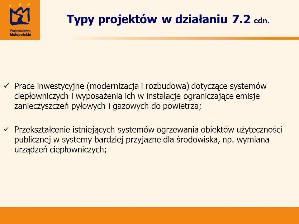 Typy projektów w działaniu 7.2 cdn.
