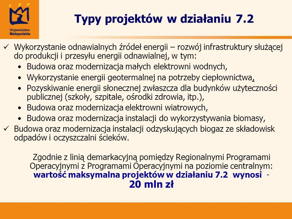 Typy projektów w działaniu 7.2