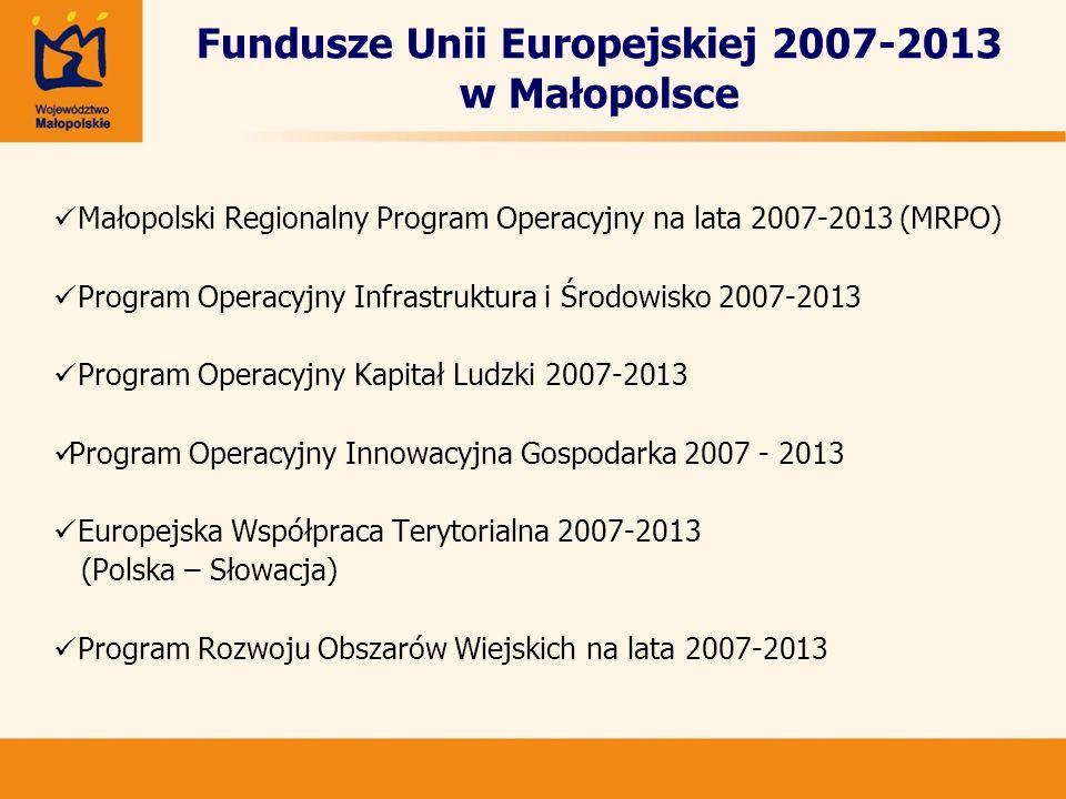 Fundusze Unii Europejskiej 2007-2013 w Małopolsce