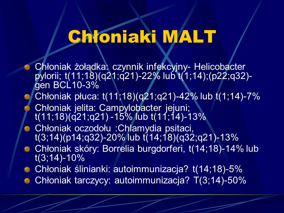 Chłoniaki MALT Chłoniak żołądka: czynnik infekcyjny- Helicobacter pylorii; t(11;18)(q21;q21)-22% lub t(1;14);(p22;q32)-gen BCL10-3%