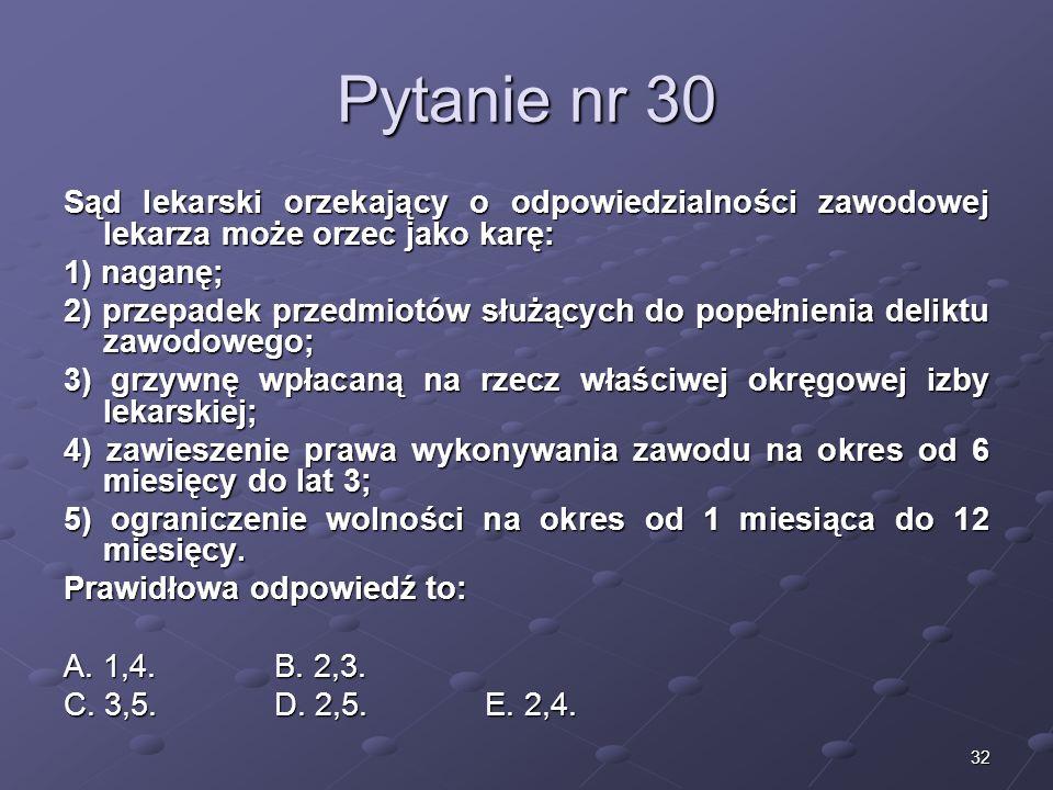 Kariera lekarzaLek. Marcin Żytkiewicz. Pytanie nr 30. Sąd lekarski orzekający o odpowiedzialności zawodowej lekarza może orzec jako karę: