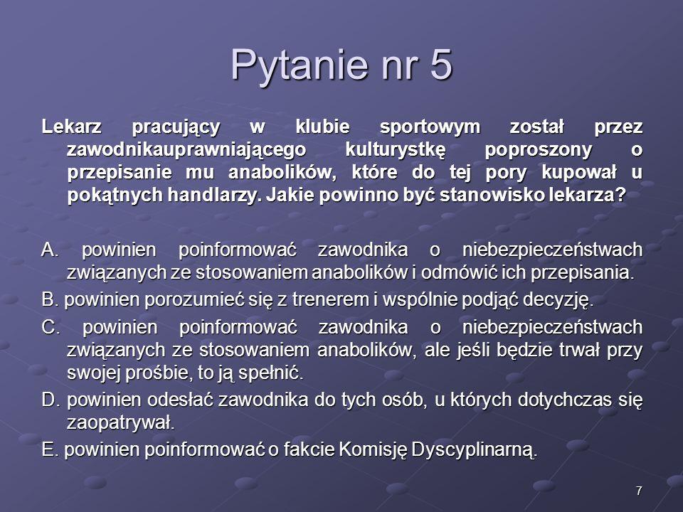 Kariera lekarza Lek. Marcin Żytkiewicz. Pytanie nr 5.