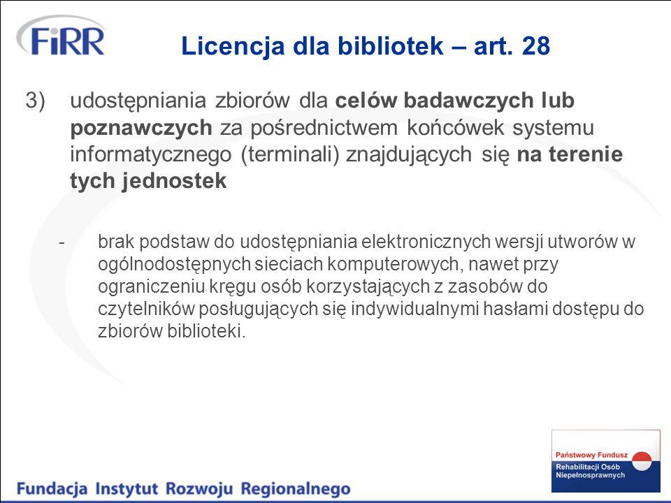Licencja dla bibliotek – art. 28