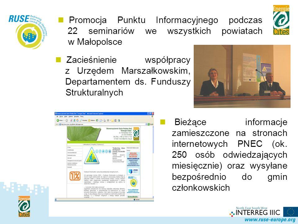 Polska Sieć Promocja Punktu Informacyjnego podczas 22 seminariów we wszystkich powiatach w Małopolsce.