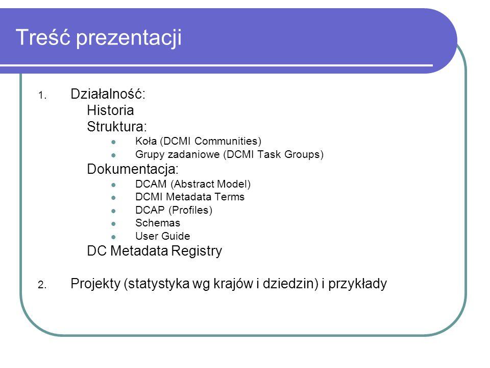 Treść prezentacji Działalność: Historia Struktura: Dokumentacja: