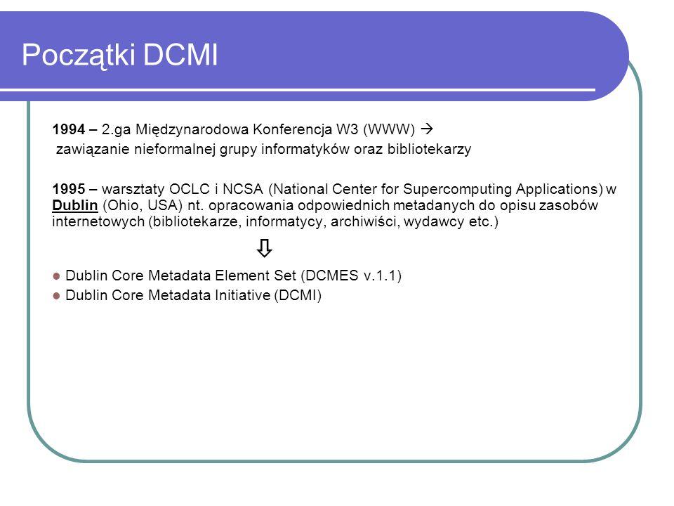 Początki DCMI 1994 – 2.ga Międzynarodowa Konferencja W3 (WWW) 
