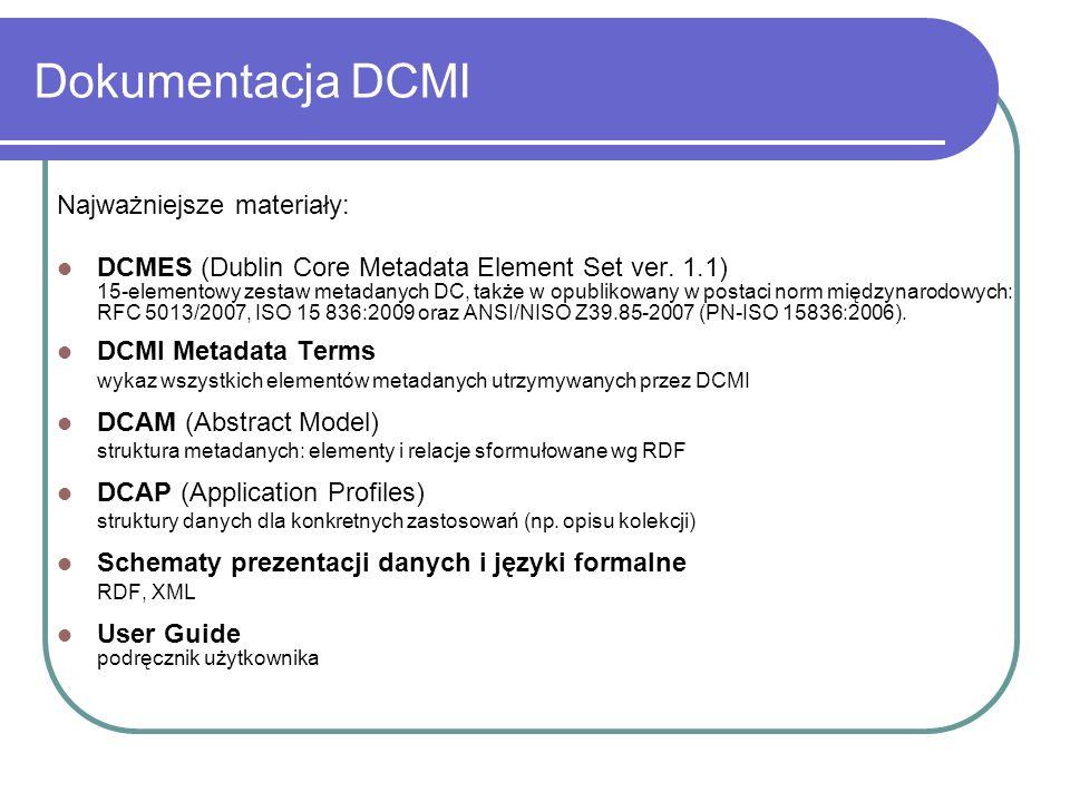 Dokumentacja DCMI Najważniejsze materiały: