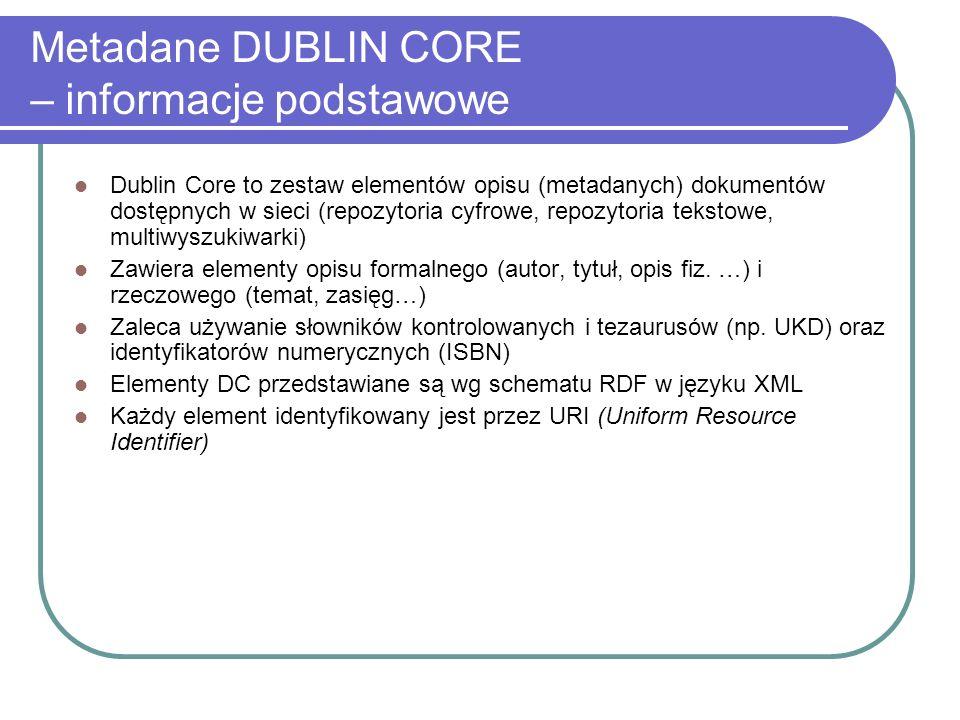 Metadane DUBLIN CORE – informacje podstawowe