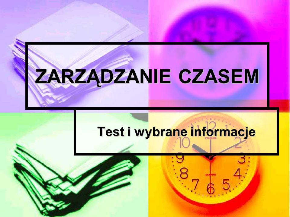 Test i wybrane informacje