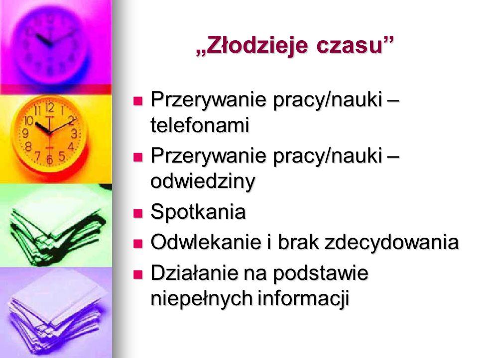 """""""Złodzieje czasu Przerywanie pracy/nauki – telefonami"""
