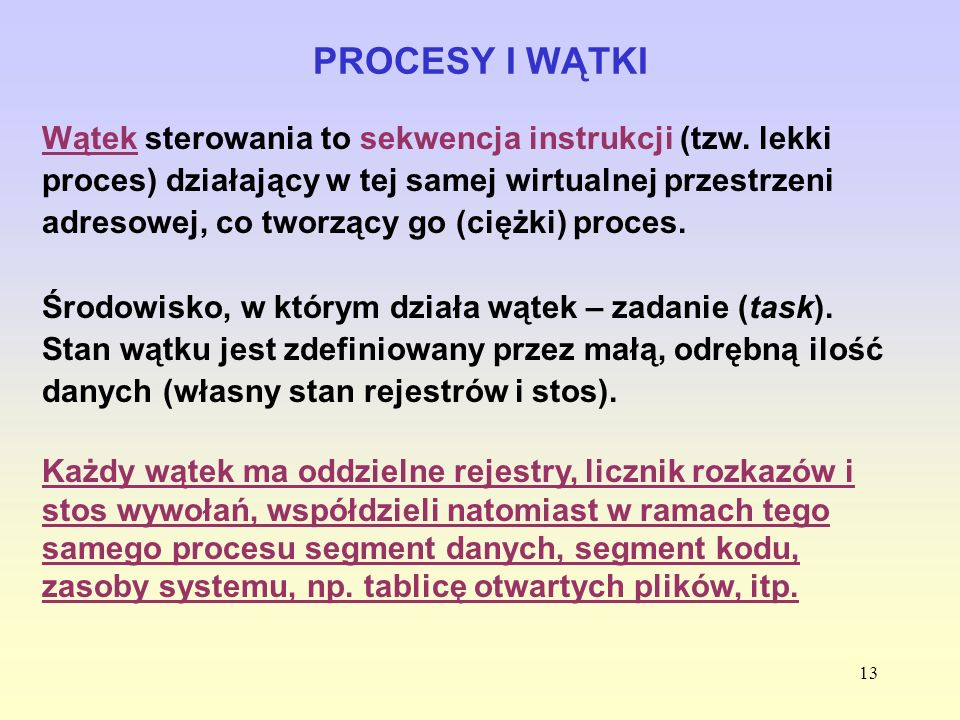 PROCESY I WĄTKI