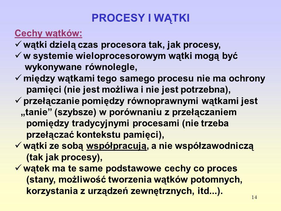 PROCESY I WĄTKI Cechy wątków: