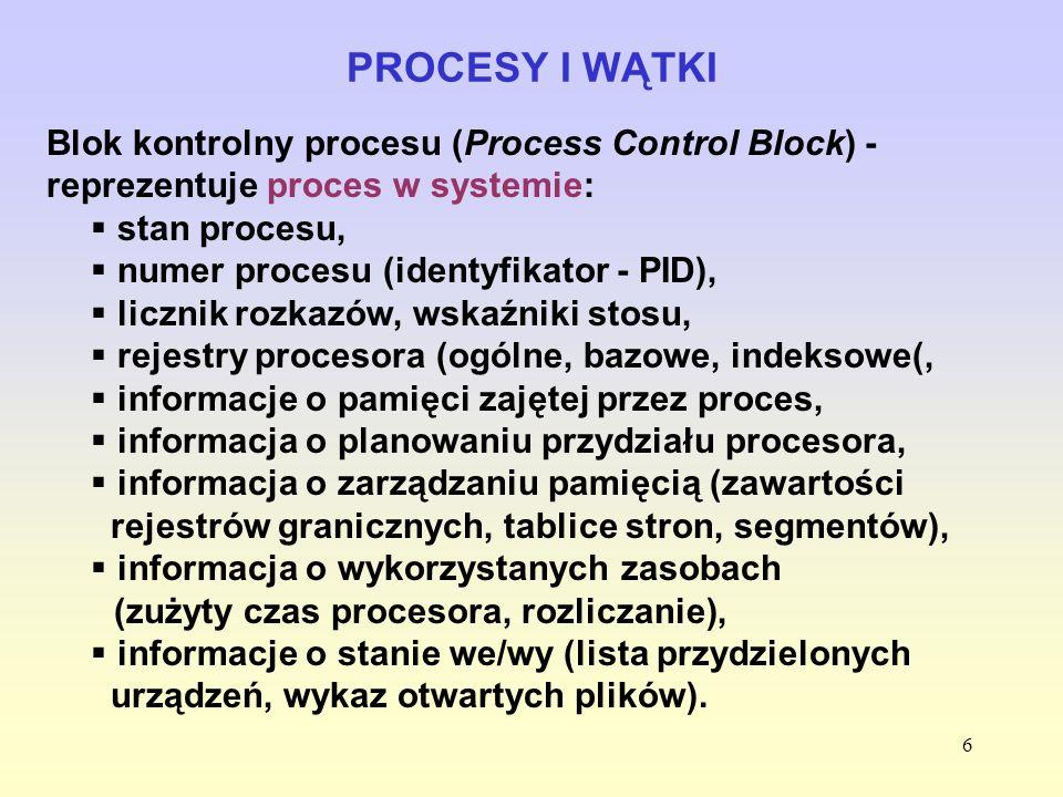PROCESY I WĄTKI Blok kontrolny procesu (Process Control Block) - reprezentuje proces w systemie: stan procesu,