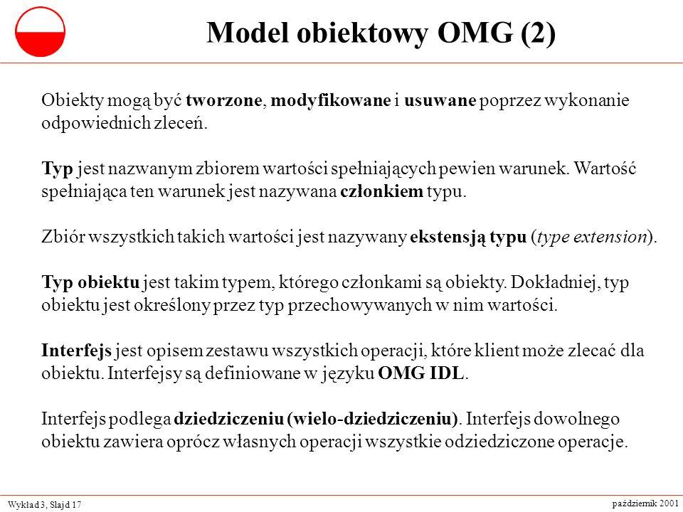 Model obiektowy OMG (2) Obiekty mogą być tworzone, modyfikowane i usuwane poprzez wykonanie odpowiednich zleceń.