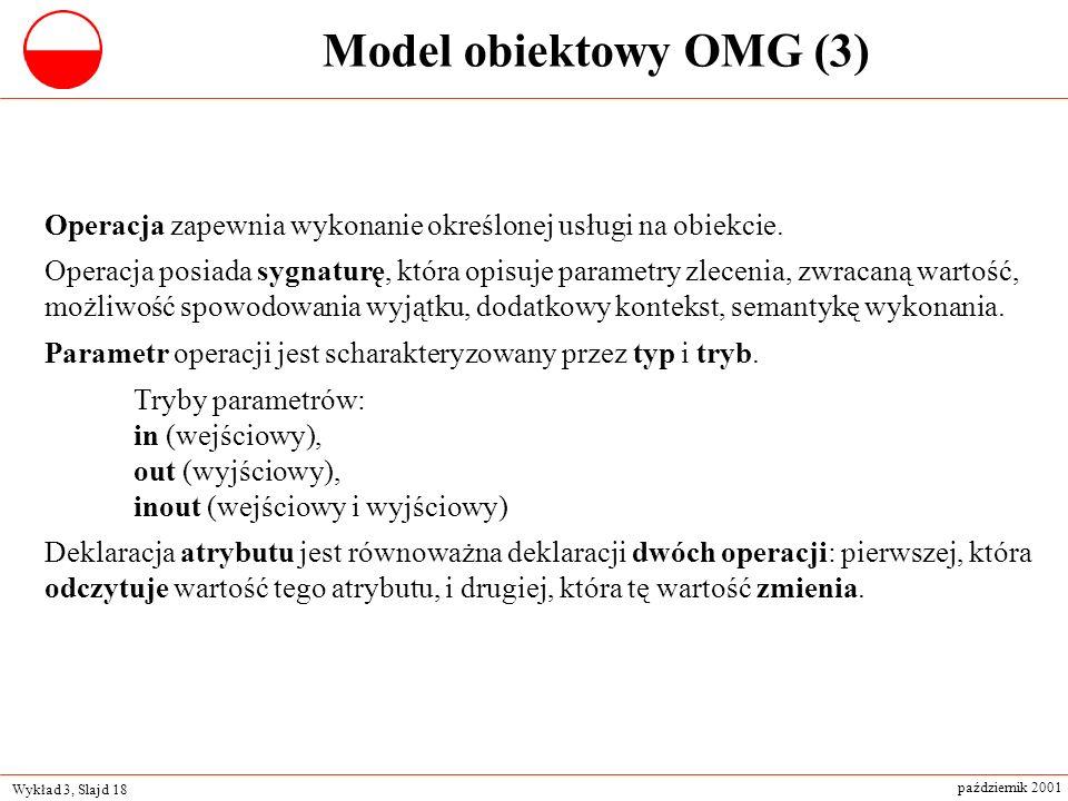 Model obiektowy OMG (3) Operacja zapewnia wykonanie określonej usługi na obiekcie.