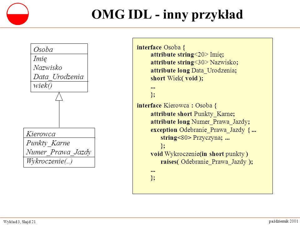 OMG IDL - inny przykład Osoba Imię Nazwisko Data_Urodzenia wiek()