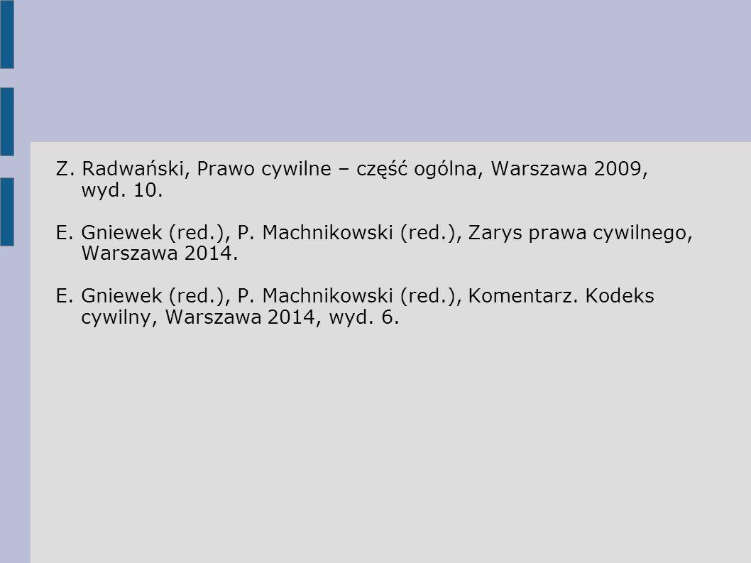 Z. Radwański, Prawo cywilne – część ogólna, Warszawa 2009, wyd. 10.