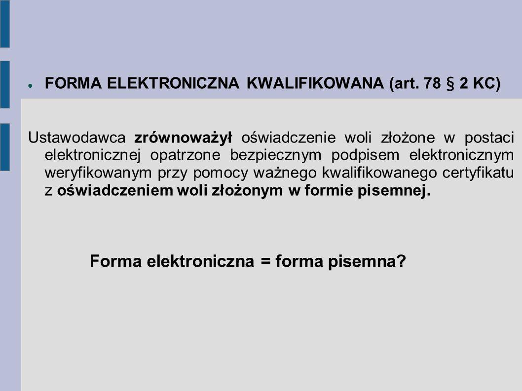 Forma elektroniczna = forma pisemna
