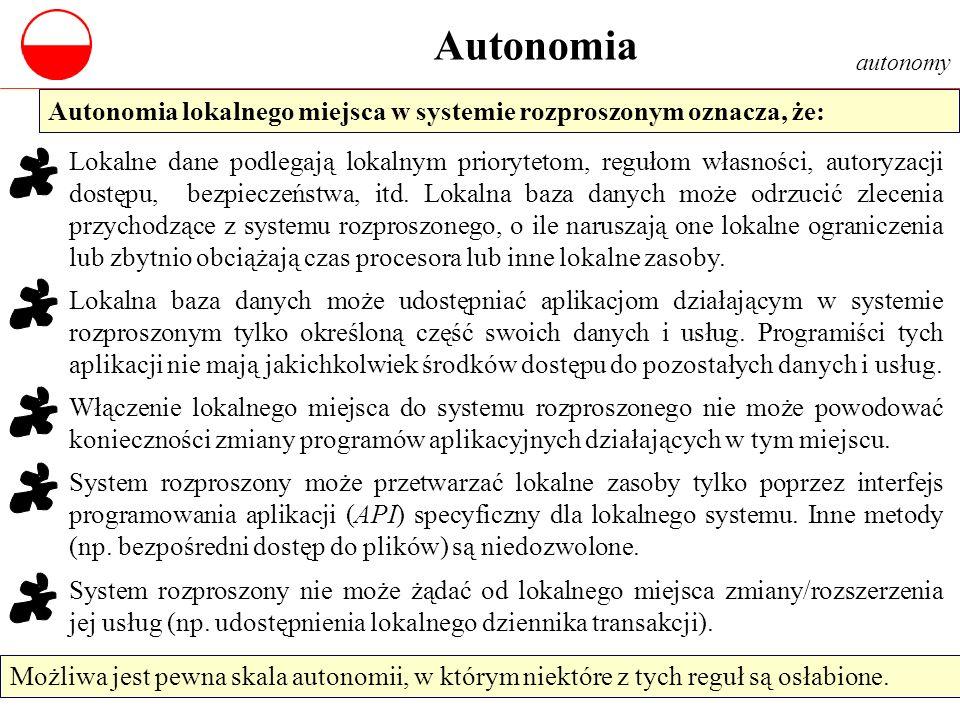 Autonomia autonomy. Autonomia lokalnego miejsca w systemie rozproszonym oznacza, że: