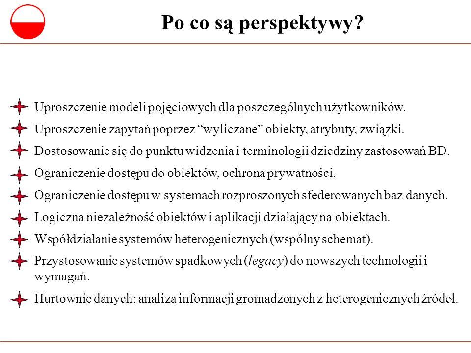 Po co są perspektywy Uproszczenie modeli pojęciowych dla poszczególnych użytkowników.