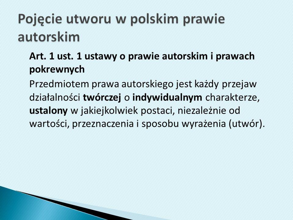 Pojęcie utworu w polskim prawie autorskim