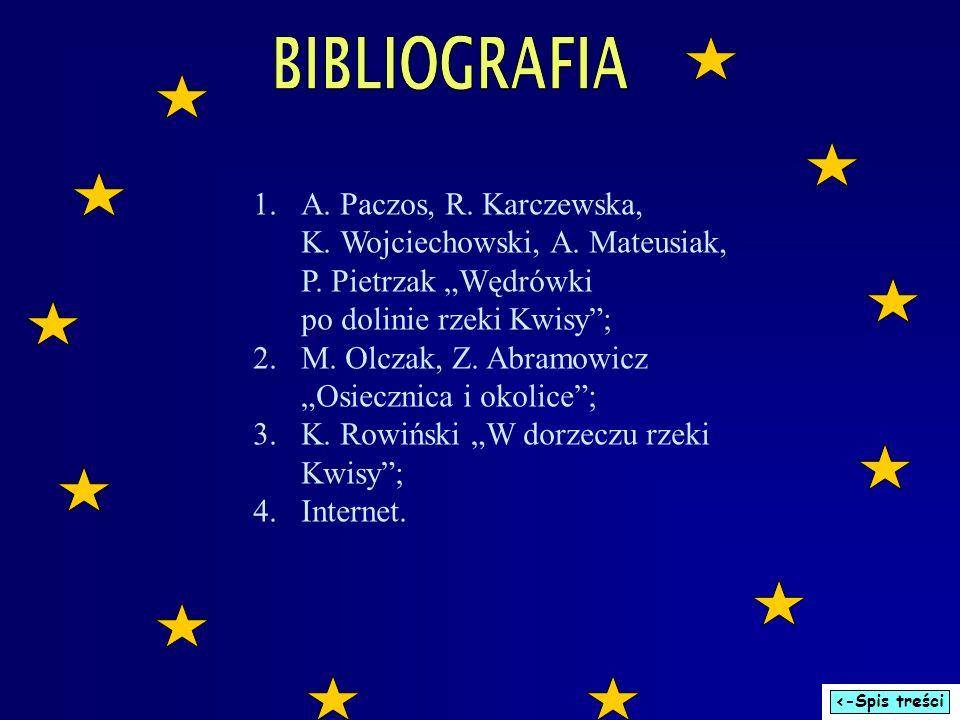 """BIBLIOGRAFIA A. Paczos, R. Karczewska, K. Wojciechowski, A. Mateusiak, P. Pietrzak """"Wędrówki po dolinie rzeki Kwisy ;"""