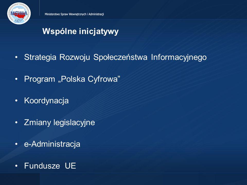 """Wspólne inicjatywy Strategia Rozwoju Społeczeństwa Informacyjnego. Program """"Polska Cyfrowa Koordynacja."""