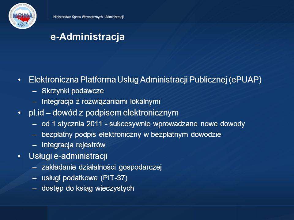 e-Administracja Elektroniczna Platforma Usług Administracji Publicznej (ePUAP) Skrzynki podawcze. Integracja z rozwiązaniami lokalnymi.
