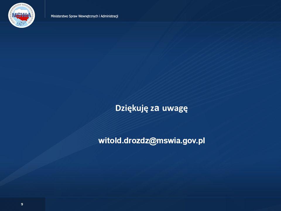 Dziękuję za uwagę witold.drozdz@mswia.gov.pl