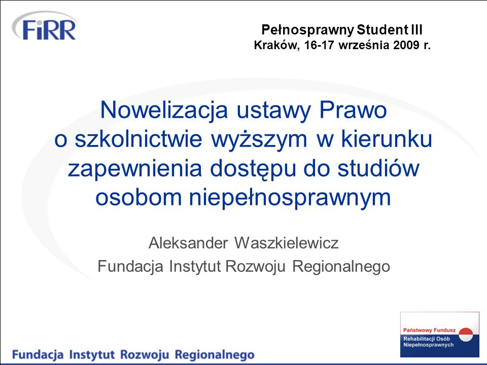 Aleksander Waszkielewicz Fundacja Instytut Rozwoju Regionalnego
