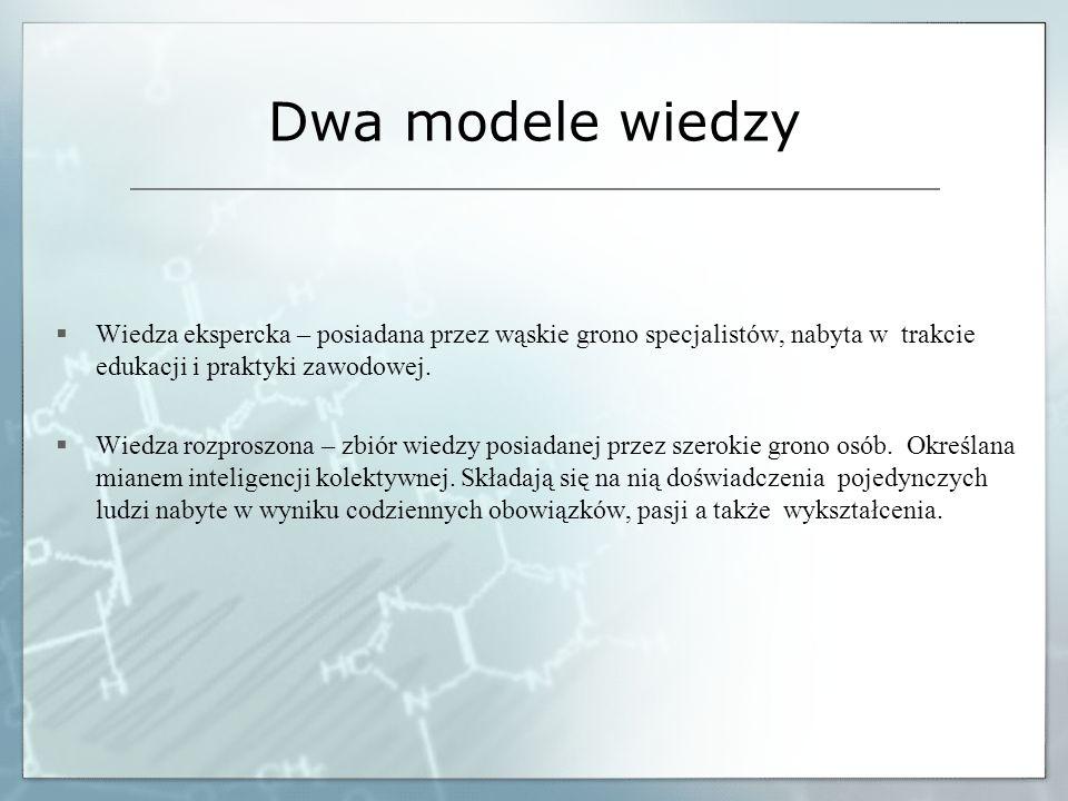 Dwa modele wiedzy Wiedza ekspercka – posiadana przez wąskie grono specjalistów, nabyta w trakcie edukacji i praktyki zawodowej.